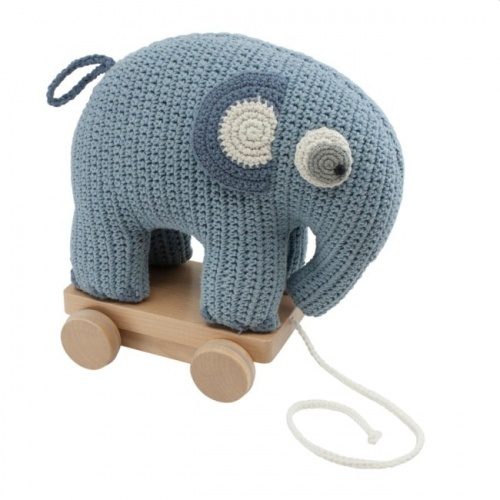 Sebra Crochet Pull Along Powder Blue Elephant