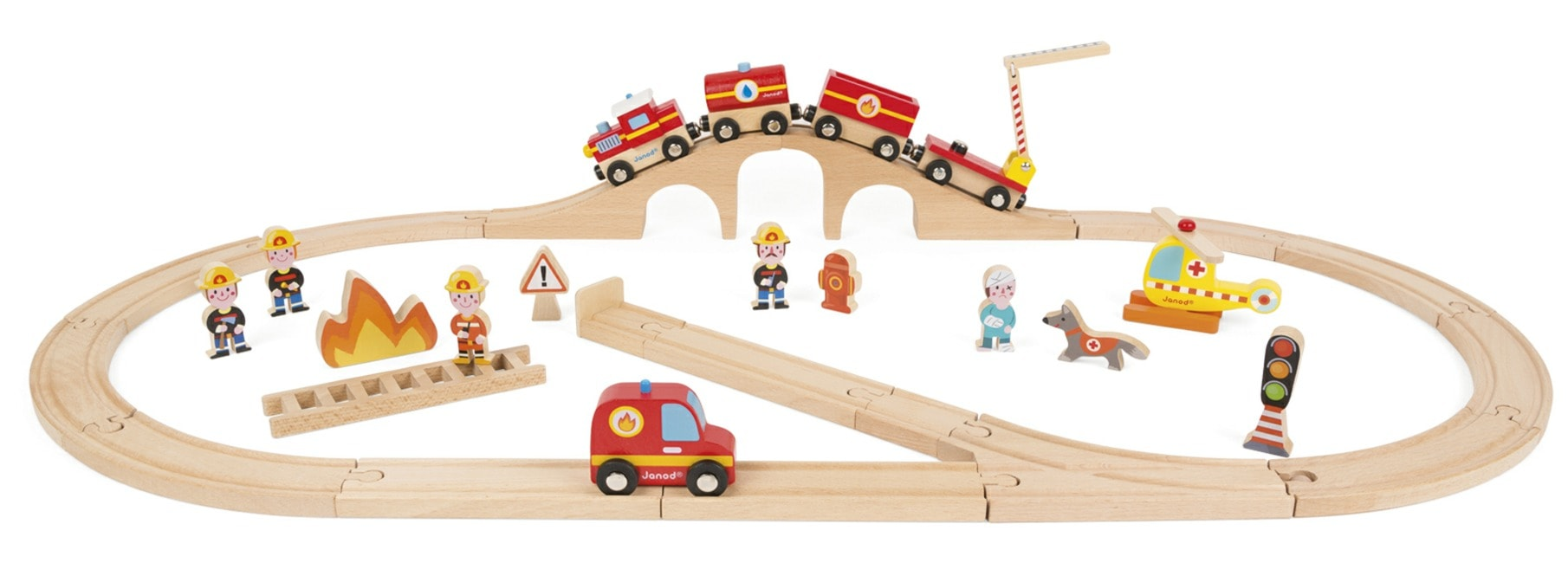 Janod Story Express Firefighters Train  Set