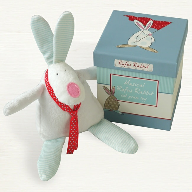 Rufus Rabbit Musical Boys Cot/Pram Toy